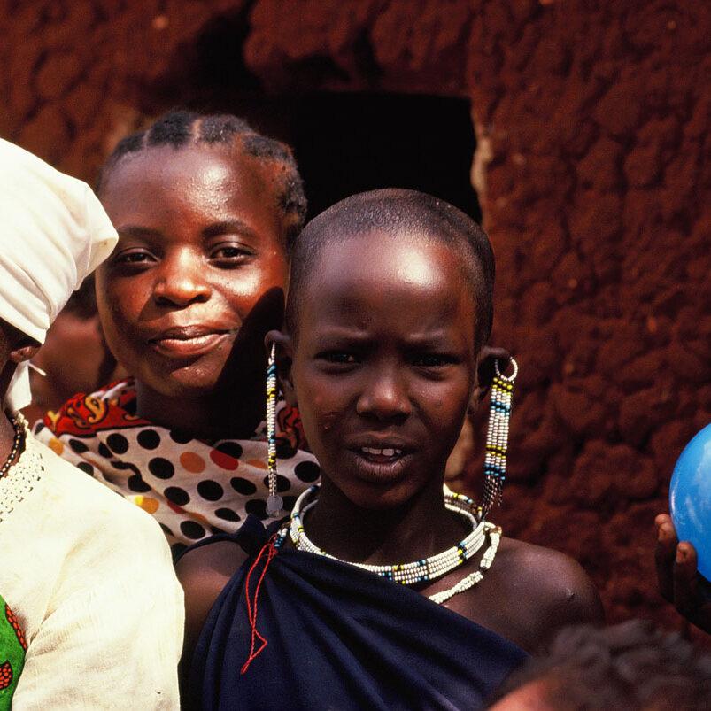 Africa, Tanzania, villaggio, ragazza, masai, amiche